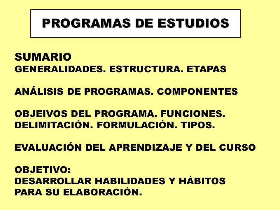 PROGRAMAS DE ESTUDIOS SUMARIO GENERALIDADES. ESTRUCTURA. ETAPAS