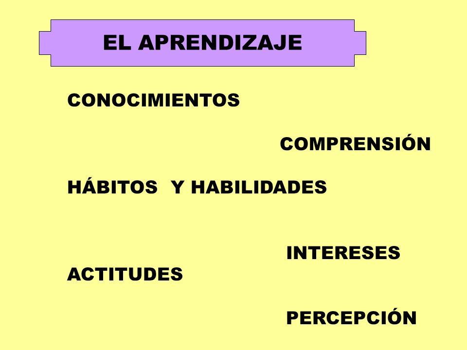 EL APRENDIZAJE CONOCIMIENTOS COMPRENSIÓN HÁBITOS Y HABILIDADES