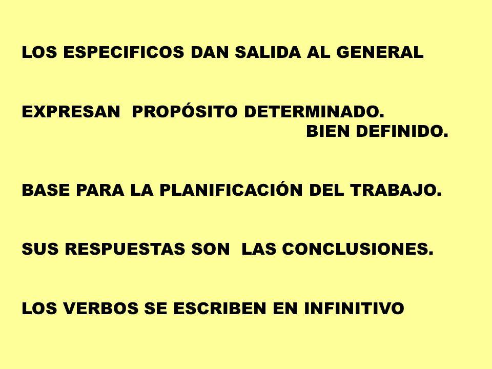 LOS ESPECIFICOS DAN SALIDA AL GENERAL