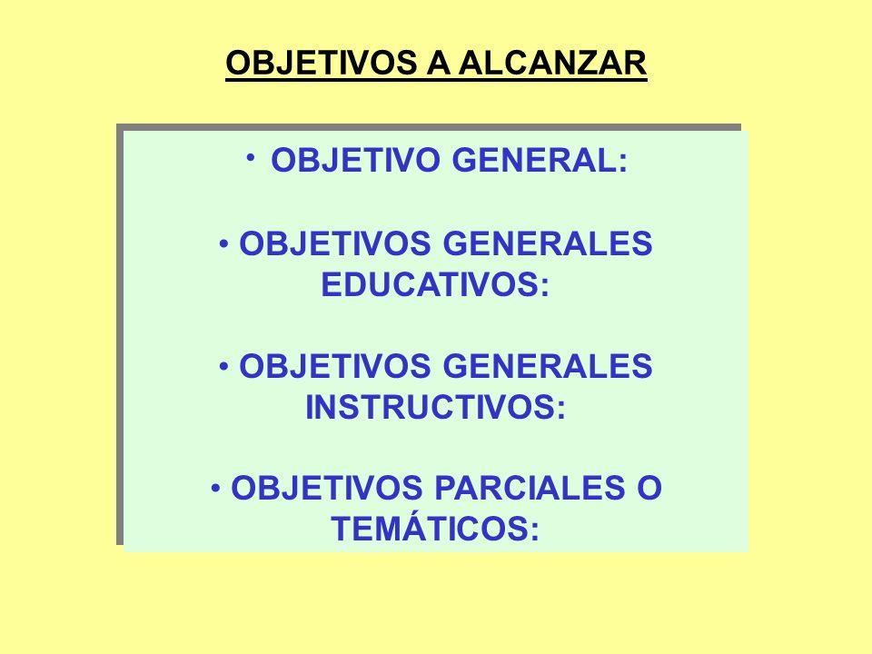OBJETIVO GENERAL: OBJETIVOS A ALCANZAR OBJETIVOS GENERALES EDUCATIVOS: