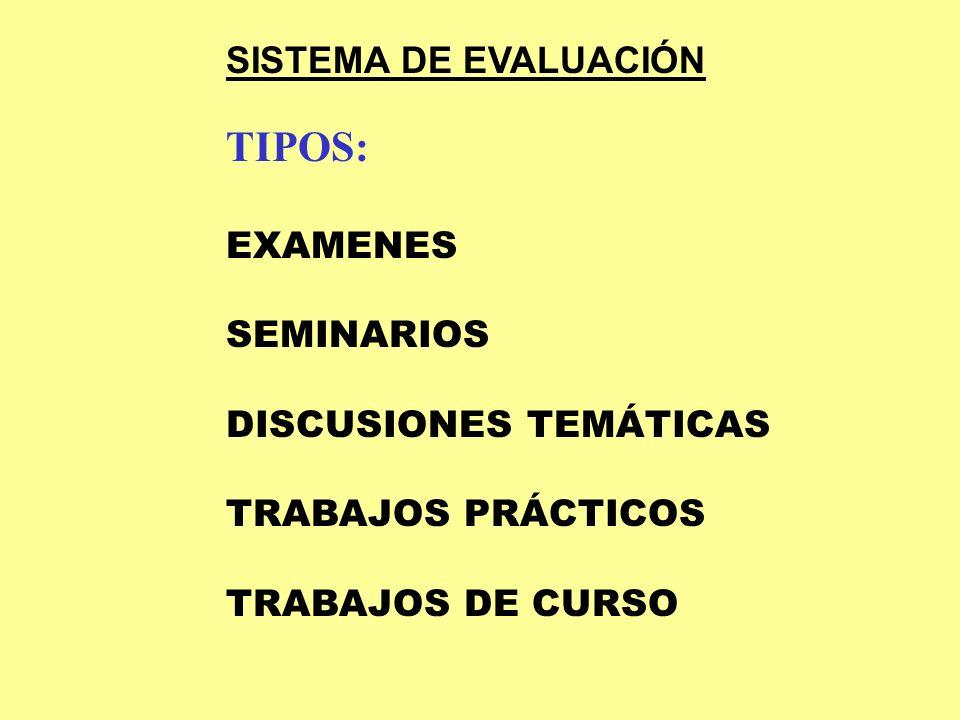 TIPOS: SISTEMA DE EVALUACIÓN EXAMENES SEMINARIOS DISCUSIONES TEMÁTICAS