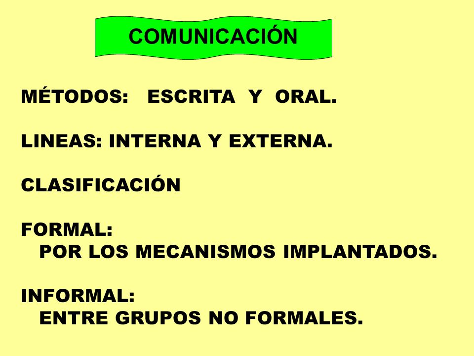 COMUNICACIÓN MÉTODOS: ESCRITA Y ORAL. LINEAS: INTERNA Y EXTERNA.
