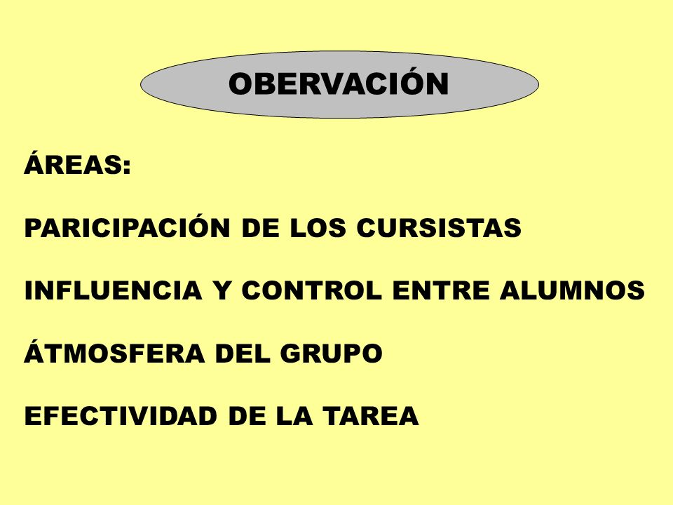 OBERVACIÓN ÁREAS: PARICIPACIÓN DE LOS CURSISTAS