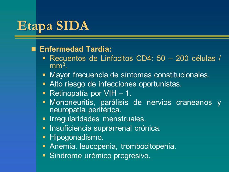 Etapa SIDA Enfermedad Tardía: