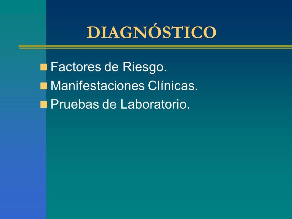 DIAGNÓSTICO Factores de Riesgo. Manifestaciones Clínicas.