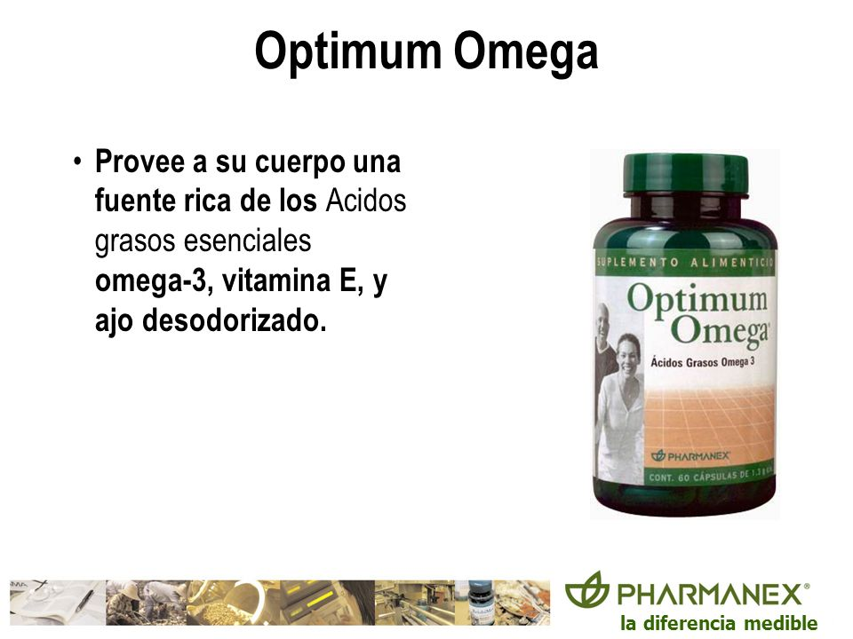 Optimum Omega Provee a su cuerpo una fuente rica de los Acidos grasos esenciales omega-3, vitamina E, y ajo desodorizado.