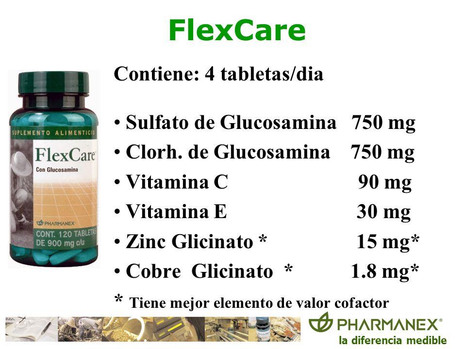 FlexCare Contiene: 4 tabletas/dia Sulfato de Glucosamina 750 mg
