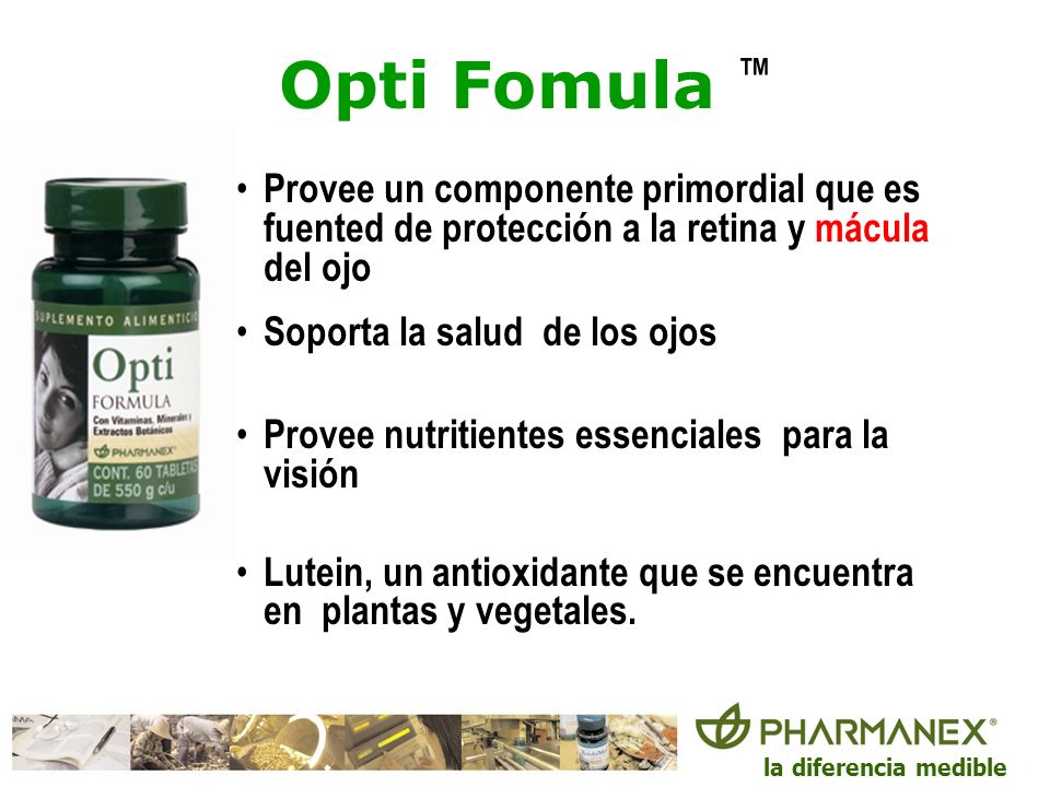 Opti Fomula ™Provee un componente primordial que es fuented de protección a la retina y mácula del ojo.