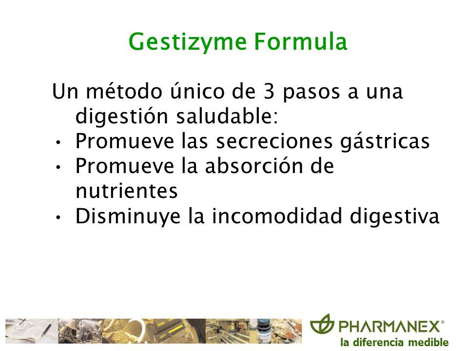 Gestizyme FormulaUn método único de 3 pasos a una digestión saludable: Promueve las secreciones gástricas.