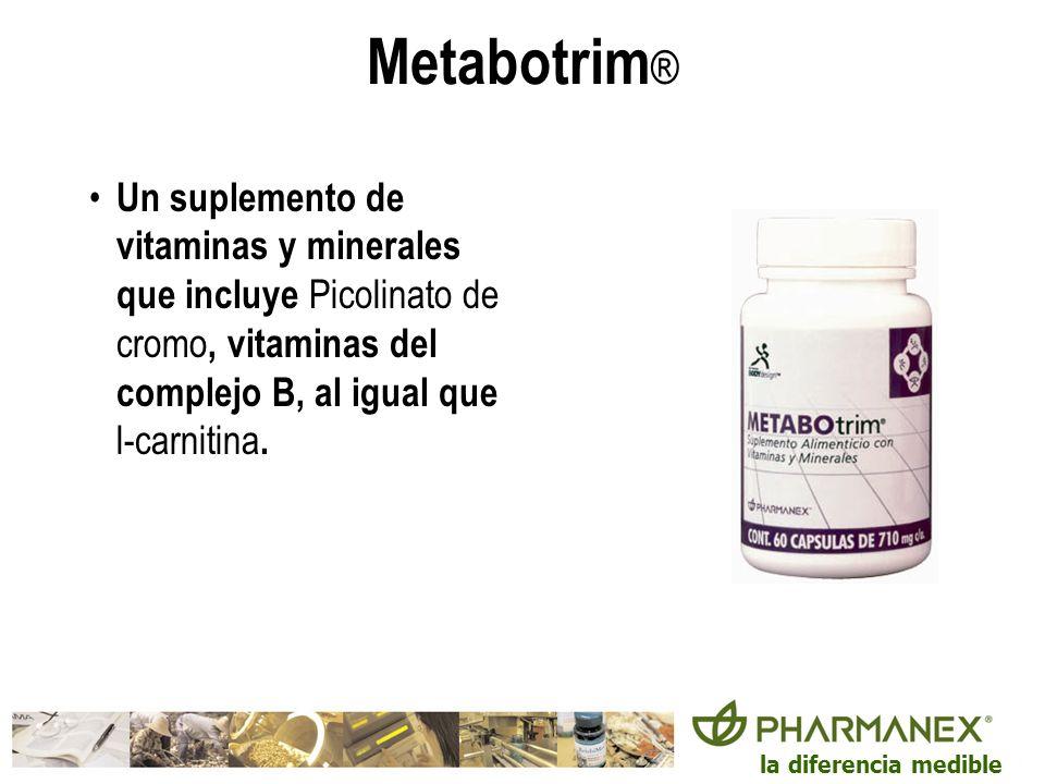Metabotrim® Un suplemento de vitaminas y minerales que incluye Picolinato de cromo, vitaminas del complejo B, al igual que l-carnitina.