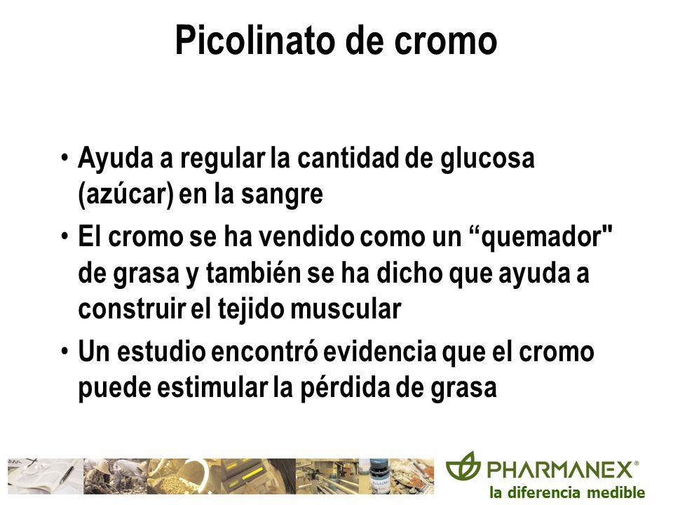 Picolinato de cromo Ayuda a regular la cantidad de glucosa (azúcar) en la sangre.