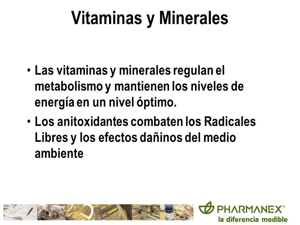 Vitaminas y Minerales Las vitaminas y minerales regulan el metabolismo y mantienen los niveles de energía en un nivel óptimo.