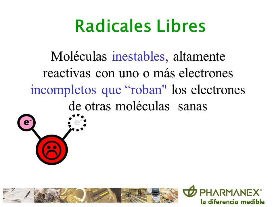 Radicales Libres Moléculas inestables, altamente reactivas con uno o más electrones incompletos que roban los electrones de otras moléculas sanas.