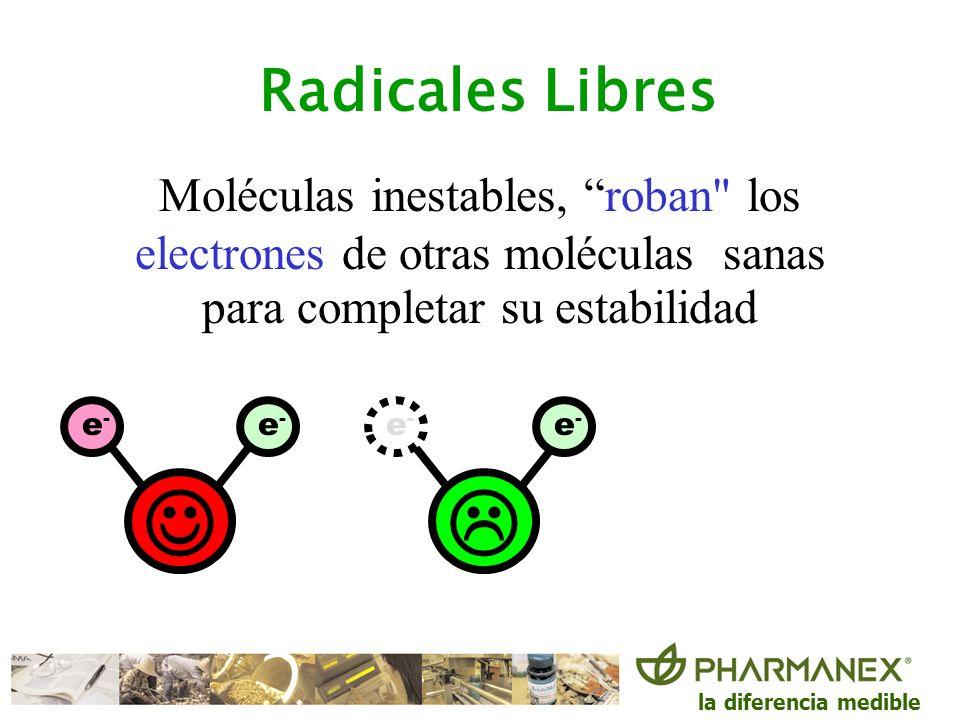 Radicales LibresMoléculas inestables, roban los electrones de otras moléculas sanas para completar su estabilidad.