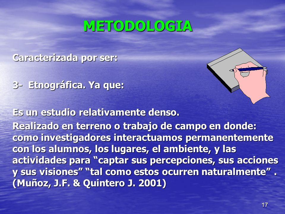 METODOLOGIA Caracterizada por ser: 3- Etnográfica. Ya que: