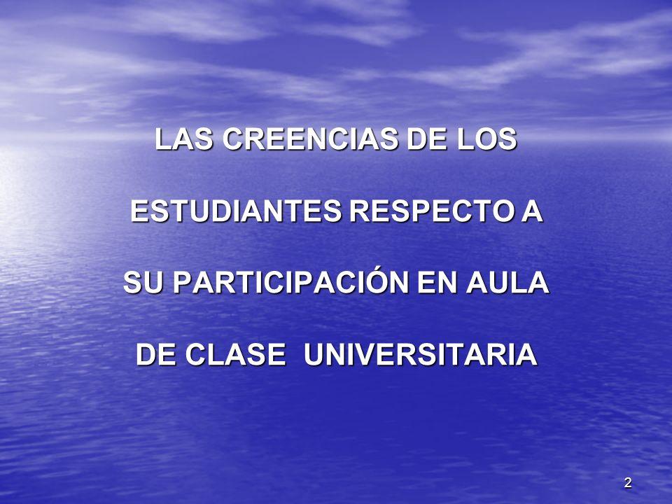 LAS CREENCIAS DE LOS ESTUDIANTES RESPECTO A SU PARTICIPACIÓN EN AULA DE CLASE UNIVERSITARIA