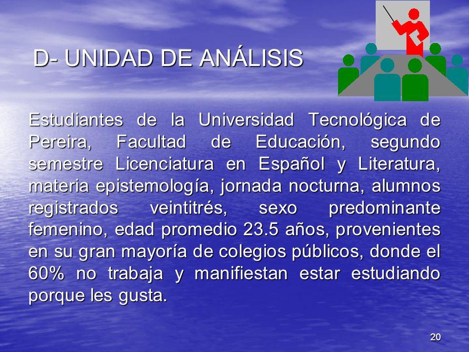 D- UNIDAD DE ANÁLISIS