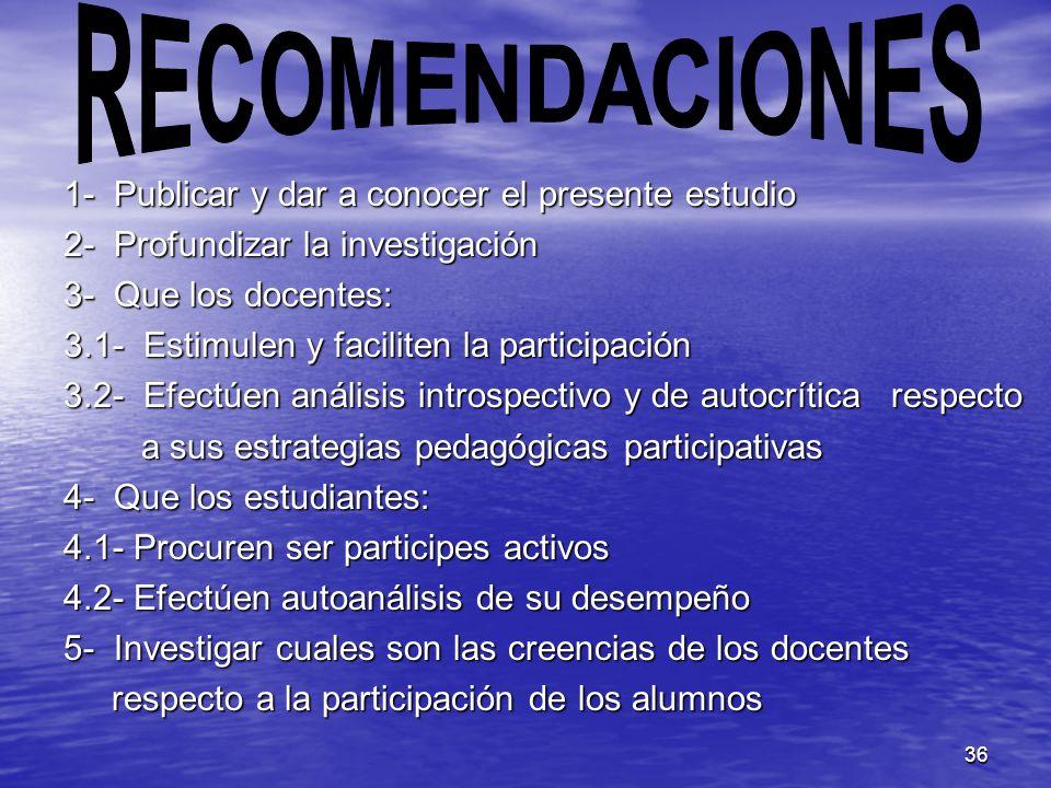 RECOMENDACIONES 1- Publicar y dar a conocer el presente estudio