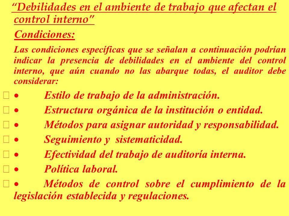 Debilidades en el ambiente de trabajo que afectan el control interno