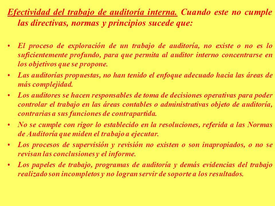 Efectividad del trabajo de auditoría interna
