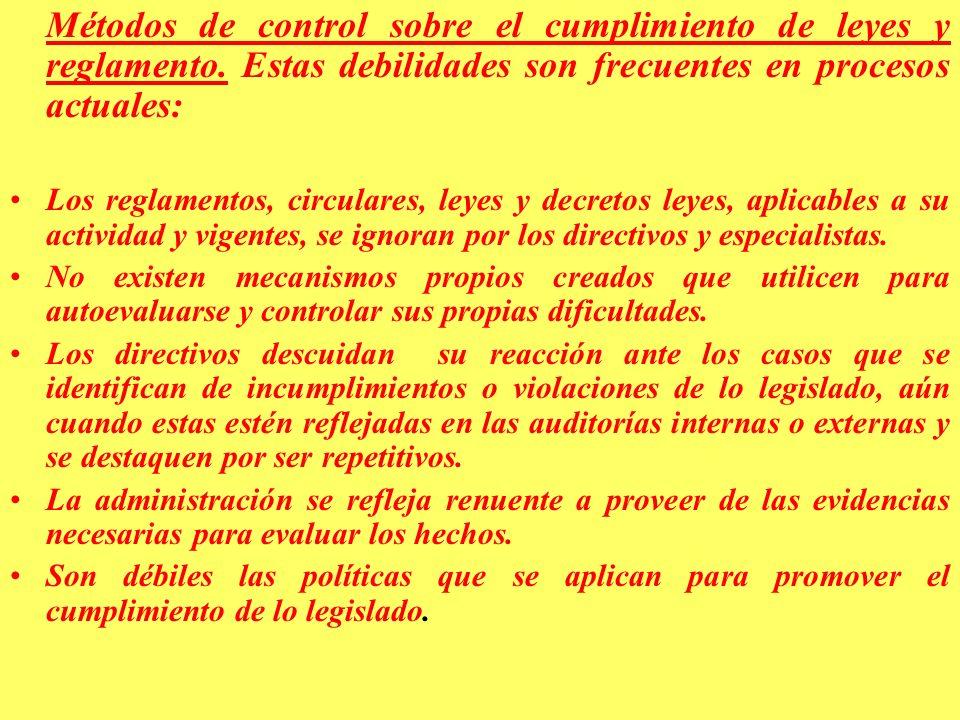 Métodos de control sobre el cumplimiento de leyes y reglamento
