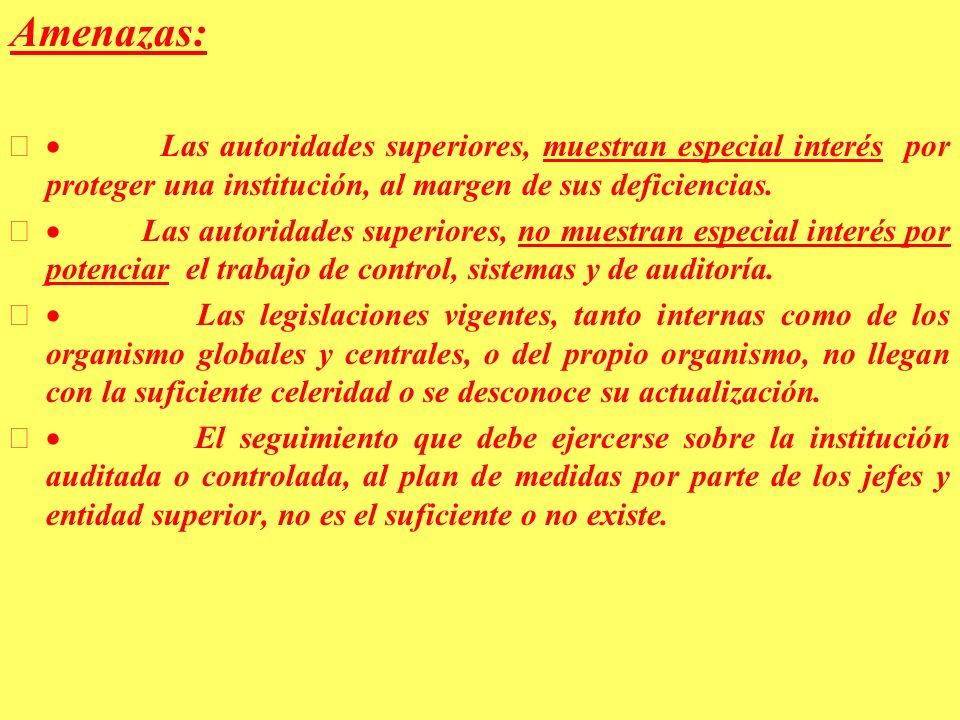 Amenazas: · Las autoridades superiores, muestran especial interés por proteger una institución, al margen de sus deficiencias.