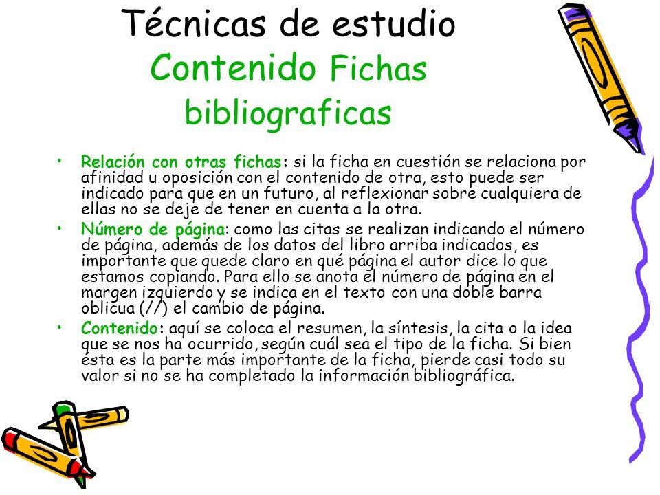 Técnicas de estudio Contenido Fichas bibliograficas