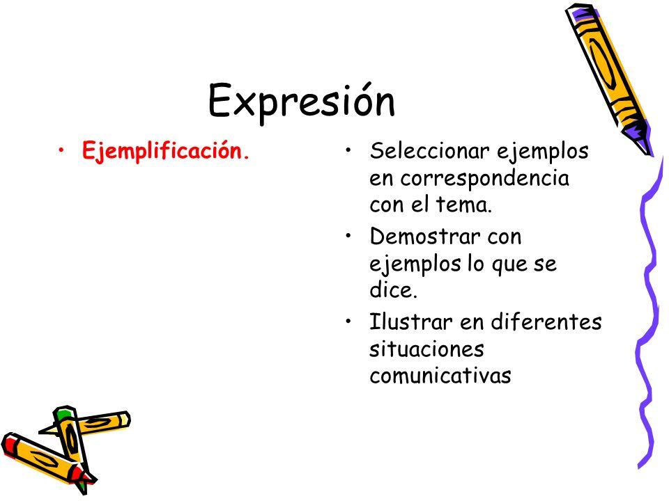 Expresión Ejemplificación.