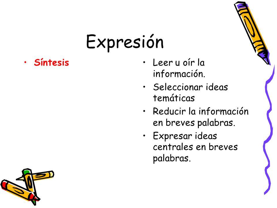 Expresión Síntesis Leer u oír la información.