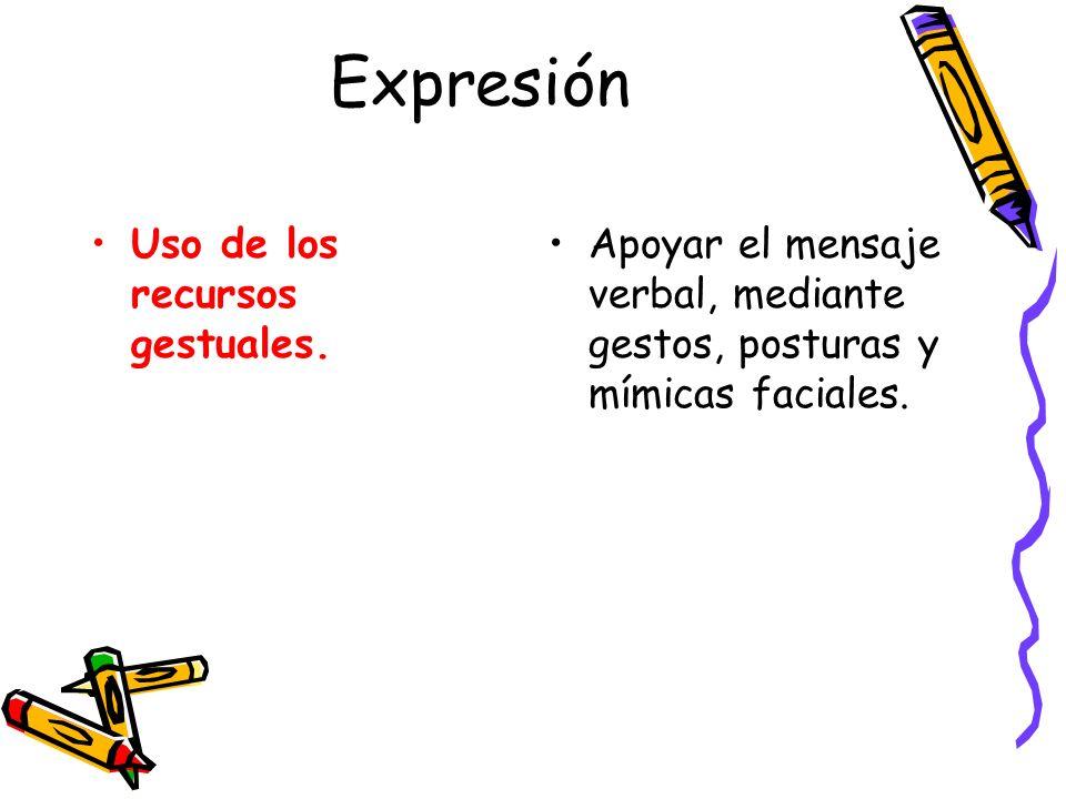 Expresión Uso de los recursos gestuales.