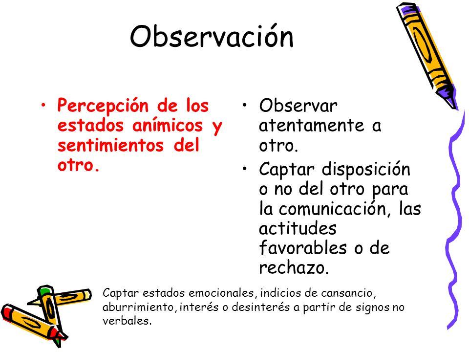 Observación Percepción de los estados anímicos y sentimientos del otro. Observar atentamente a otro.