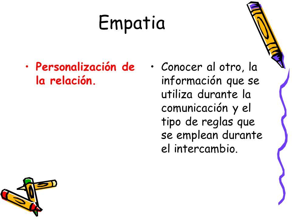 Empatia Personalización de la relación.