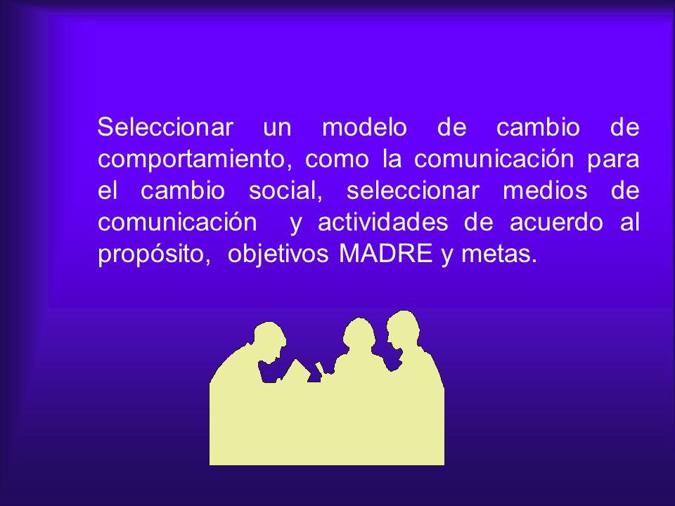 Seleccionar un modelo de cambio de comportamiento, como la comunicación para el cambio social, seleccionar medios de comunicación y actividades de acuerdo al propósito, objetivos MADRE y metas.