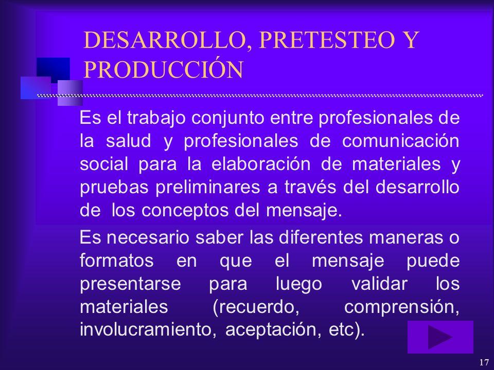 DESARROLLO, PRETESTEO Y PRODUCCIÓN