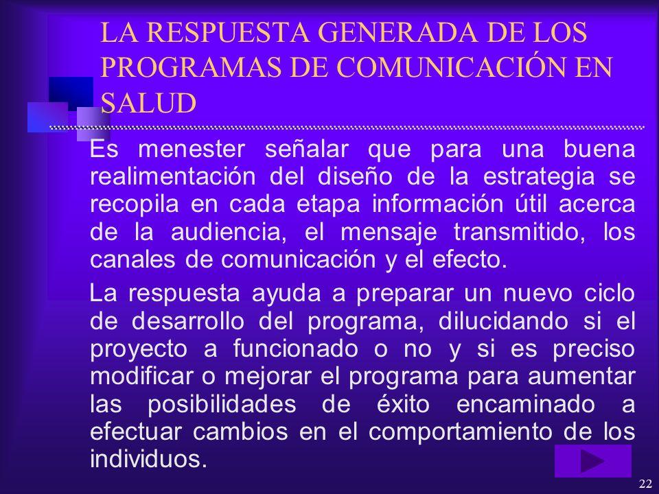 LA RESPUESTA GENERADA DE LOS PROGRAMAS DE COMUNICACIÓN EN SALUD