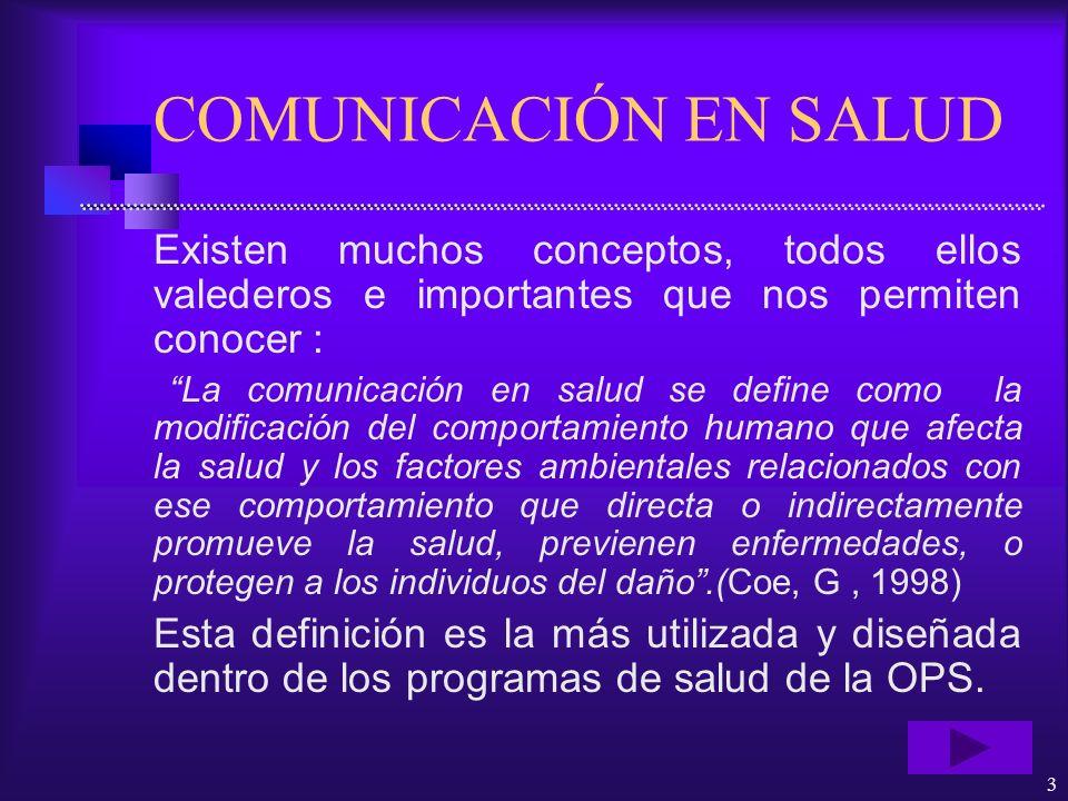 COMUNICACIÓN EN SALUD Existen muchos conceptos, todos ellos valederos e importantes que nos permiten conocer :