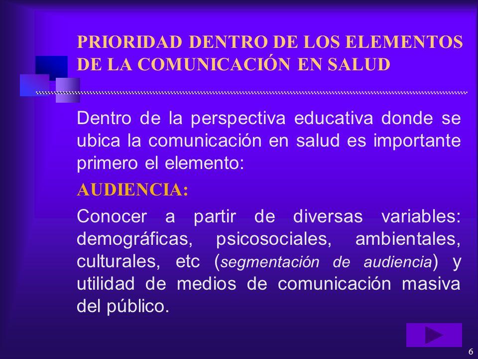 PRIORIDAD DENTRO DE LOS ELEMENTOS DE LA COMUNICACIÓN EN SALUD