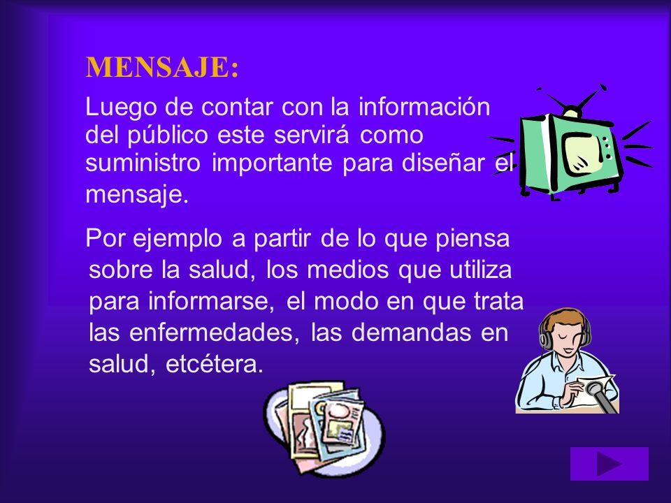 MENSAJE: Luego de contar con la información del público este servirá como suministro importante para diseñar el mensaje.