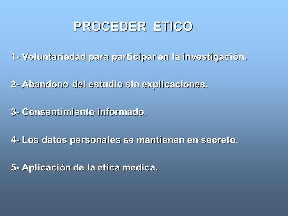 PROCEDER ETICO 1- Voluntariedad para participar en la investigación.