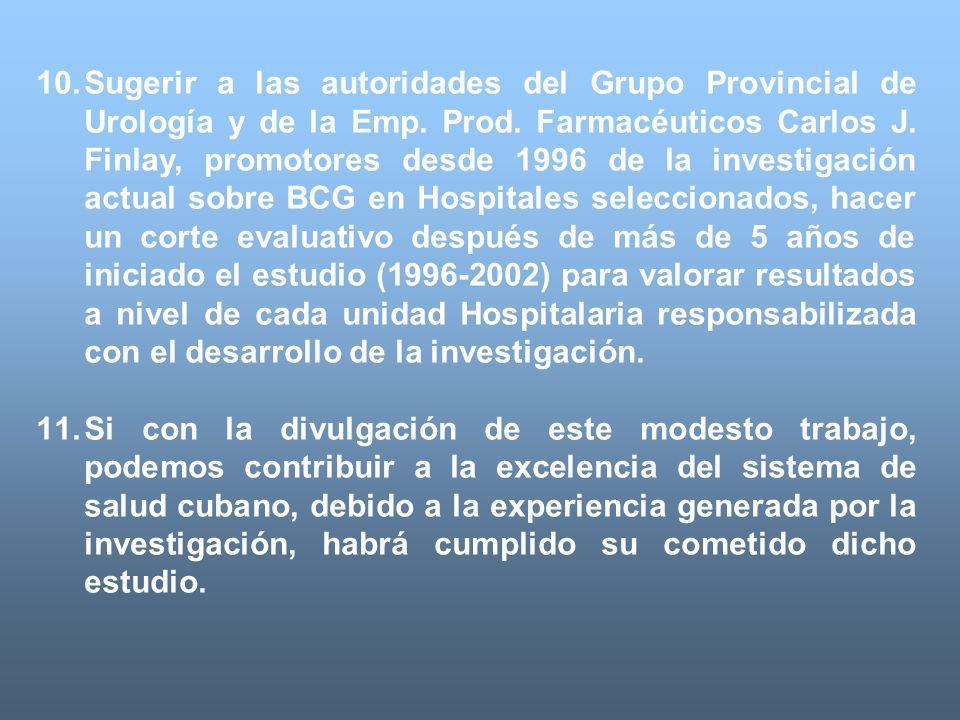 Sugerir a las autoridades del Grupo Provincial de Urología y de la Emp