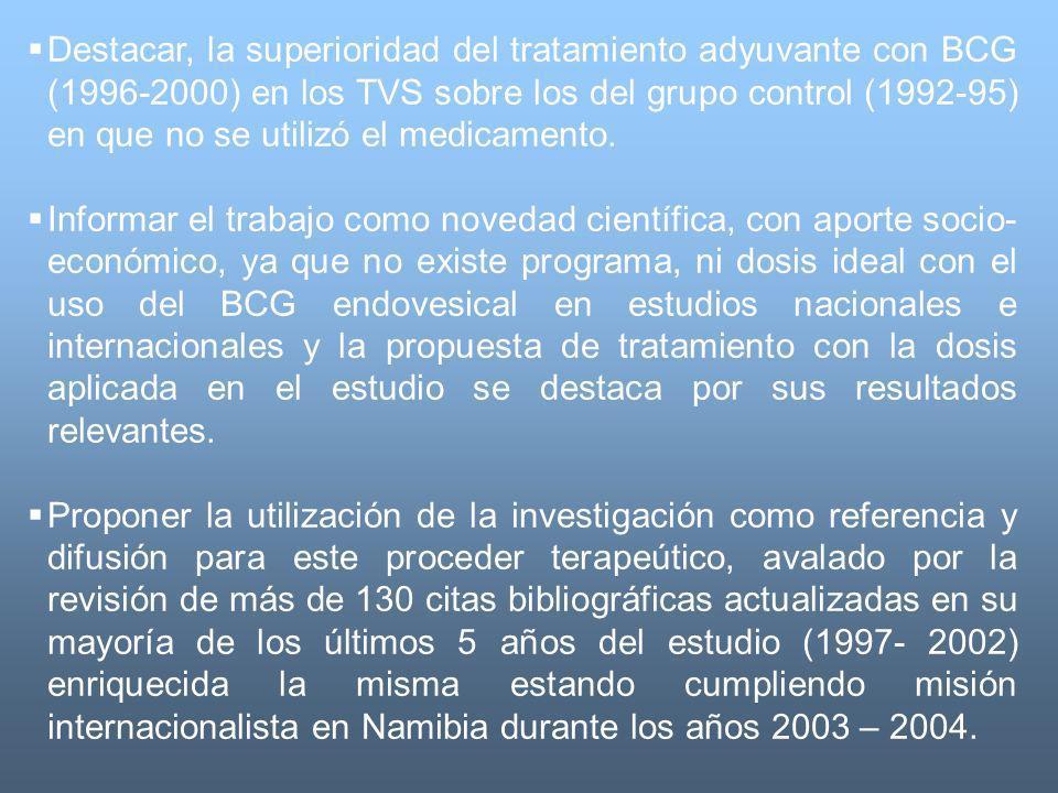 Destacar, la superioridad del tratamiento adyuvante con BCG (1996-2000) en los TVS sobre los del grupo control (1992-95) en que no se utilizó el medicamento.