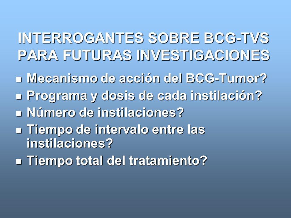 INTERROGANTES SOBRE BCG-TVS PARA FUTURAS INVESTIGACIONES
