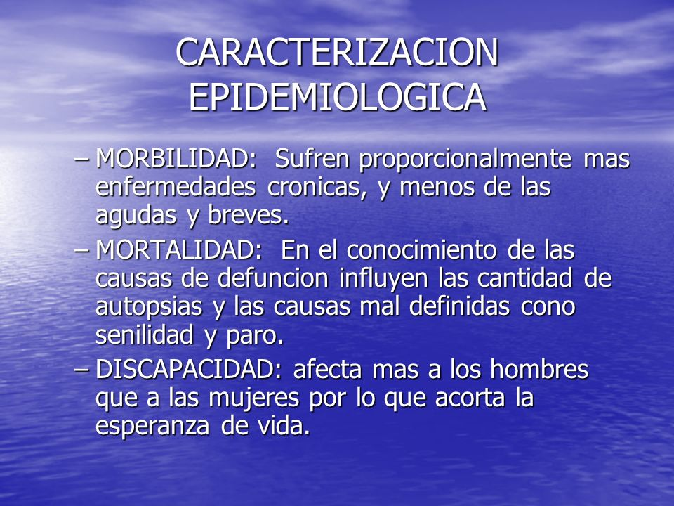 CARACTERIZACION EPIDEMIOLOGICA