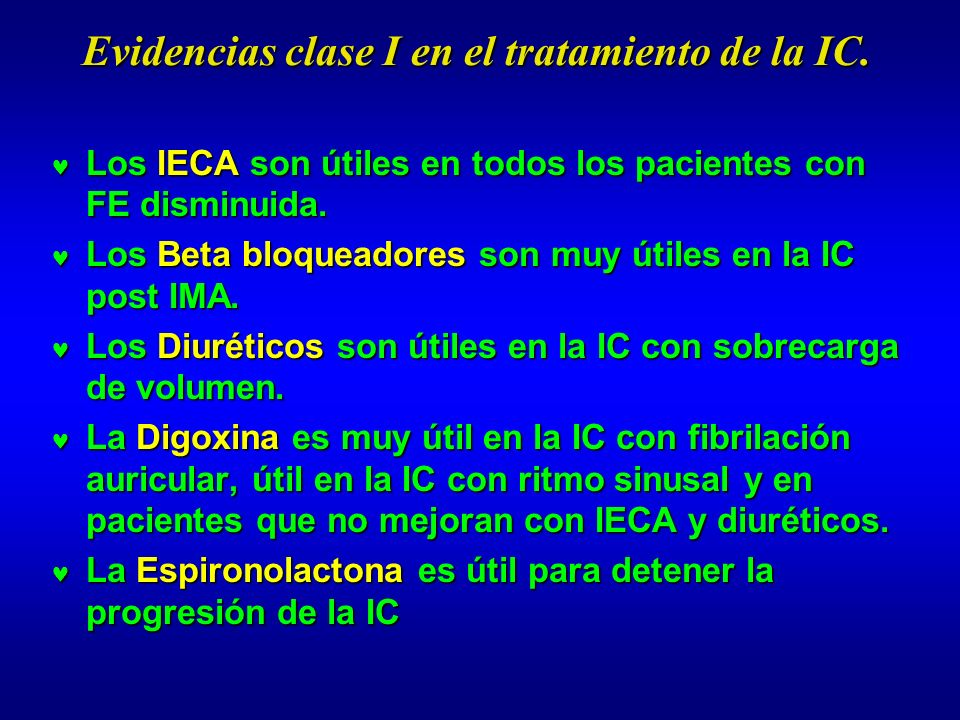 Evidencias clase I en el tratamiento de la IC.