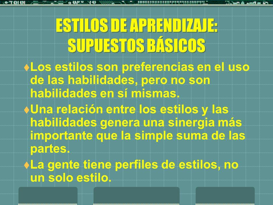 ESTILOS DE APRENDIZAJE: SUPUESTOS BÁSICOS