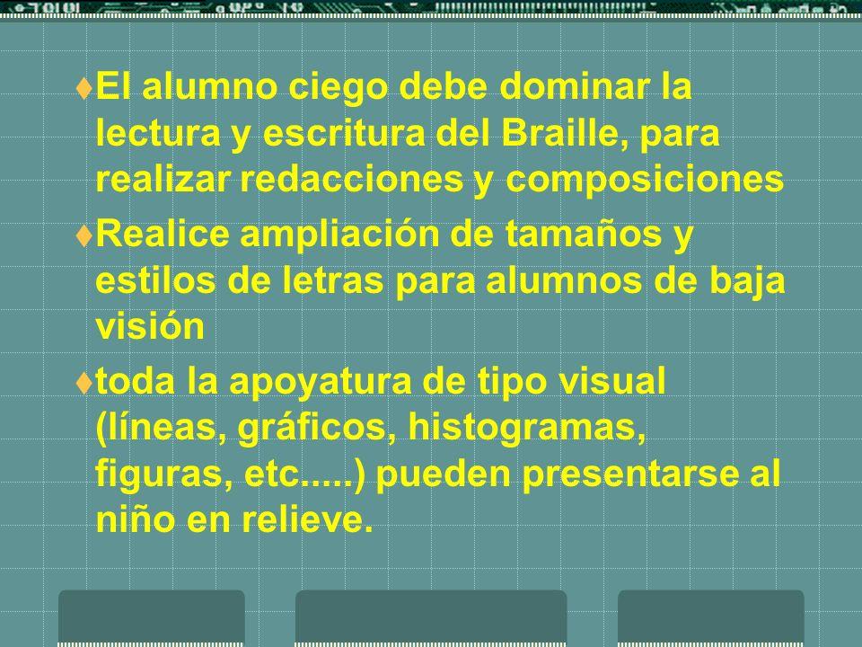 El alumno ciego debe dominar la lectura y escritura del Braille, para realizar redacciones y composiciones