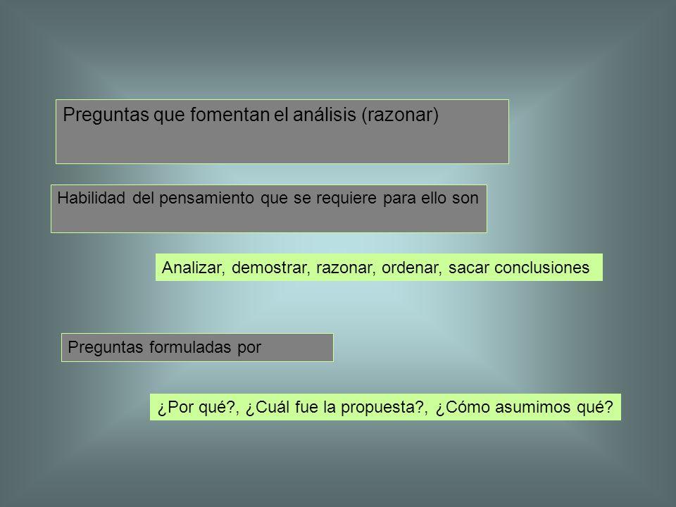 Preguntas que fomentan el análisis (razonar)
