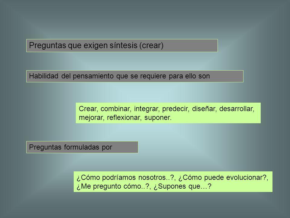 Preguntas que exigen síntesis (crear)