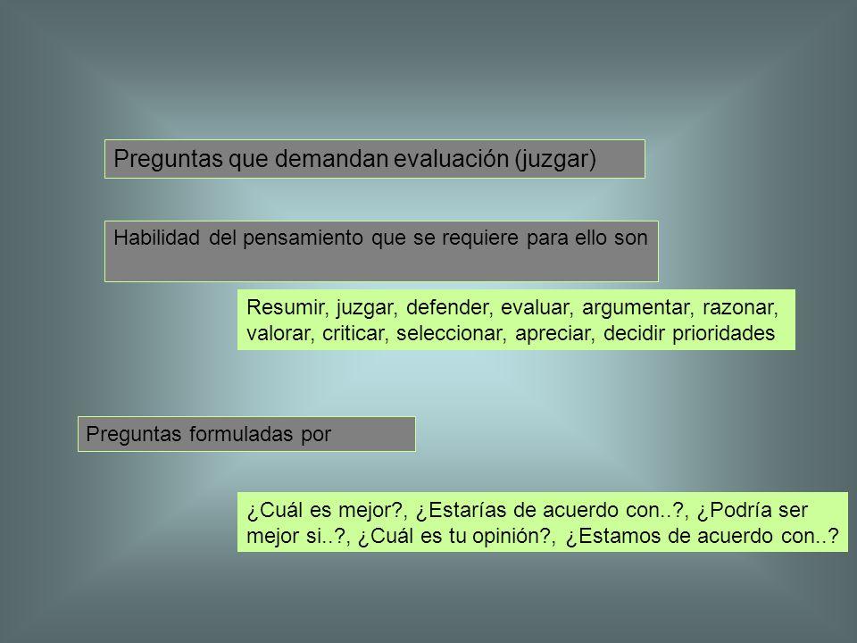 Preguntas que demandan evaluación (juzgar)