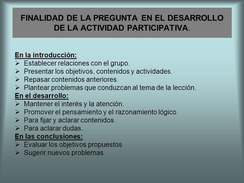 FINALIDAD DE LA PREGUNTA EN EL DESARROLLO DE LA ACTIVIDAD PARTICIPATIVA.